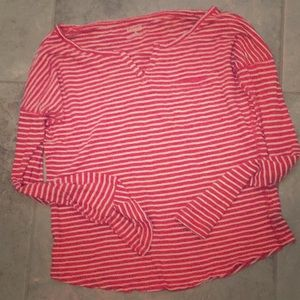 Long sleeve red and white striped tee